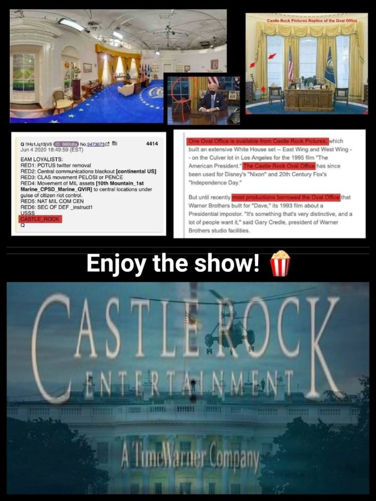 Castle Rock Hollywood film production company has realistic White House interiors. The shots of Biden in the Oval Office do not look real.