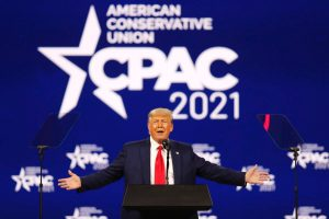 President Trump delivering his State of the Union at CPAC 2021