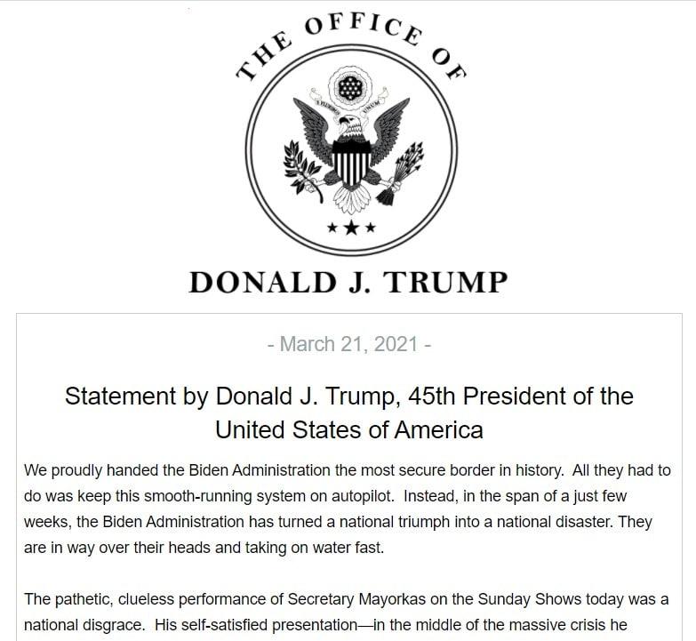 Letterhead of President Donald J. Trump plus first half of his statement