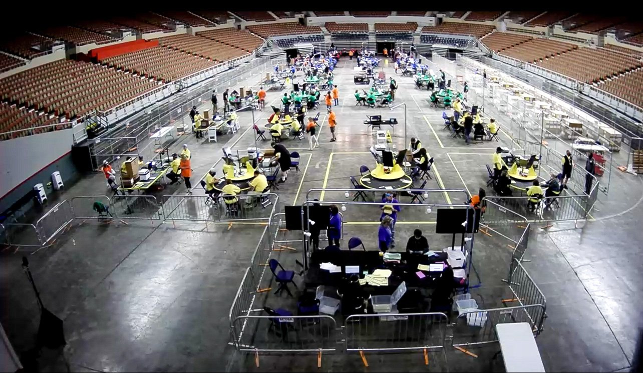 Forensic audit of the Maricopa County election ballots on the floor of Veterans Memorial Coliseum