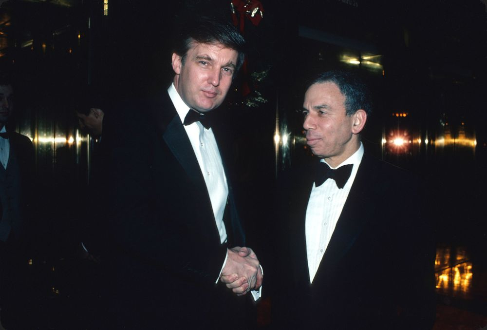 """President Trump with Samuel Irving """"S.I."""" Newhouse Jr."""