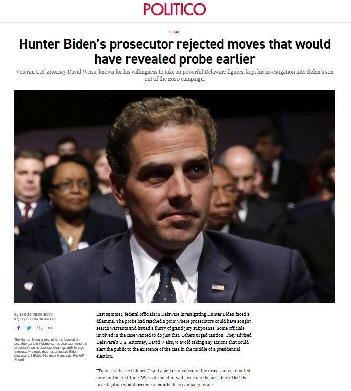 Politico Hunter Biden Bombshell