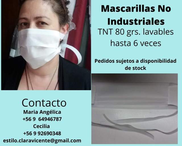 Mascarillas sanitarias TNT no industriales 100% lavables