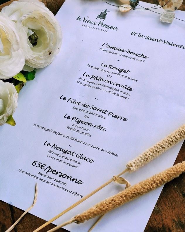 menu saint valentin restaurant saint leu vieux pressoir