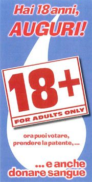 Immagine della cartolina di auguri per i 18 anni dell'AVIS di Bologna