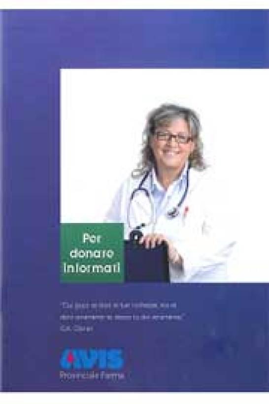 """Immagine della copertina del primo """"Per donare informati"""": due opuscoli realizzati dall'Avis Provinciale di Parma"""