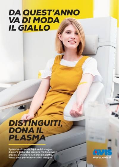 """Da quest'anno va di moda il giallo. Distinguiti, dona il plasma"""". Al via lacampagna nazionale Avis. Sondaggio Ipsos: ancora molti non conoscono bene l'importanza della parte fluida del sangue."""
