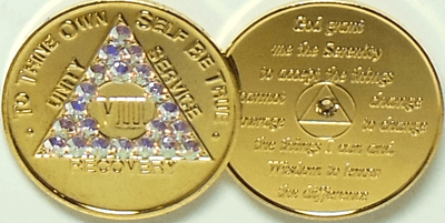 Recovery coins AA Aluminum Medallion token sobriety affirmation birthday 8 Month