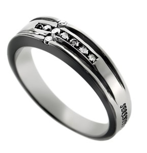 CZ Channel Cross Serenity Prayer Ring