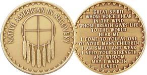 Native American in Recovery Dream Catcher Bronze Medallion