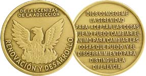 Spanish Out of The Ashes of Addiction Recovery medallion
