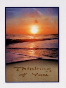 Beautiful Beach Sunset Thinking of You Card
