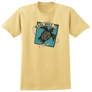 Easy Does It Sea Turtle Gold Tee Shirt