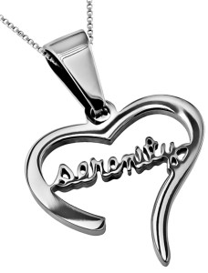 Stainless Steel Serenity Heart Necklace with 18 Chain