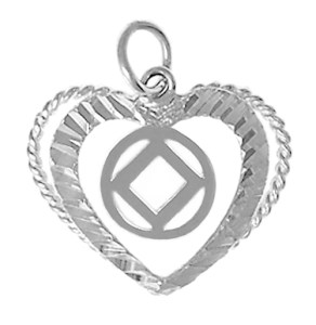 Narcotics Anonymous Heart Pendant with NA Symbol Silver Charm 545-9