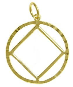 Narcotics Anonymous Symbol with Diamond Cut Circle Gold Charm 361-9