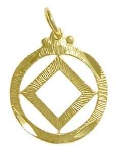 Narcotics Anonymous Symbol with Diamond Cut Circle Gold Charm 44-9