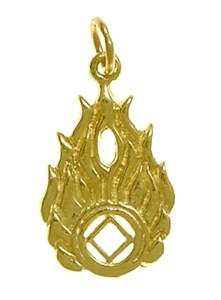 Narcotics Anonymous Symbol with Flames Gold Charm 824-10
