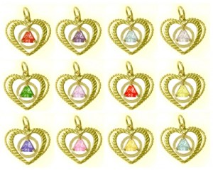 Alcoholics Anonymous 14K Gold AA Symbol In Heart with 5mm Birthstones #531-4