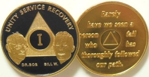 Alcoholics Anonymous Black Bill and Bob Gold Plated Medallion