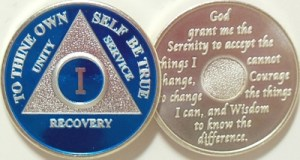 Alcoholics Anonymous Blue Silver Plated Medallion