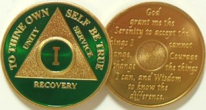 Alcoholics Anonymous Green Gold Plated Medallion