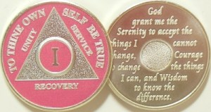 Alcoholics Anonymous Pink Silver Plated Medallion