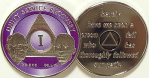 Alcoholics Anonymous Purple Bill and Bob Nickel Plated Medallion