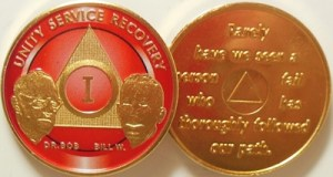 Alcoholics Anonymous Red Bill and Bob Gold Plated Medallion