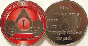 Alcoholics Anonymous Red Bill and Bob Nickel Plated Medallion