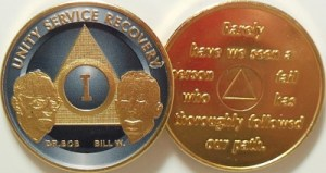 Alcoholics Anonymous Titanium Bill and Bob Gold Plated Medallion