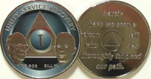 Alcoholics Anonymous Titanium Bill and Bob Nickel Plated Medallion