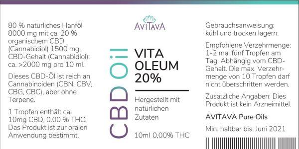 Avitava Vita Oleum 20% CBD-Tropfen 2000 mg THC-freies CBD Öl