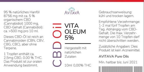 Avitava Vita Oleum 5% CBD-Tropfen 500 mg THC-freies CBD Öl
