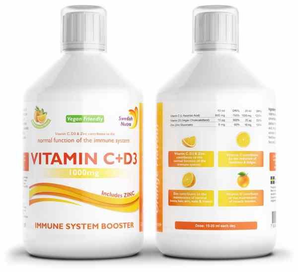 Vitamin C + D3 500 ml - Immunsystem Booster - Swedish Nutra