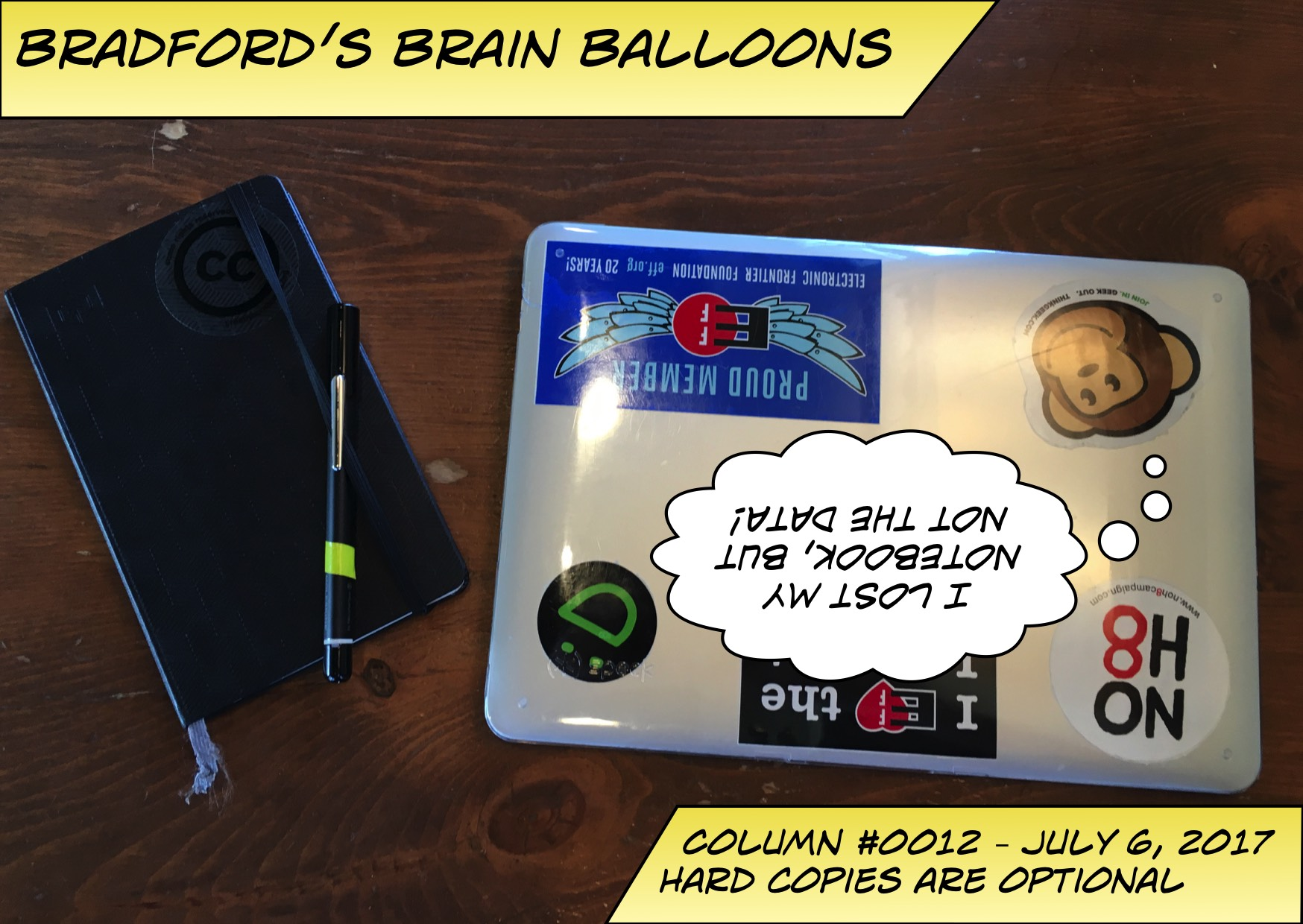 Title panel for Bradford's Brain Balloon #12. Hard Copies are optional. Sub heading, I lost my notebook but not my data.