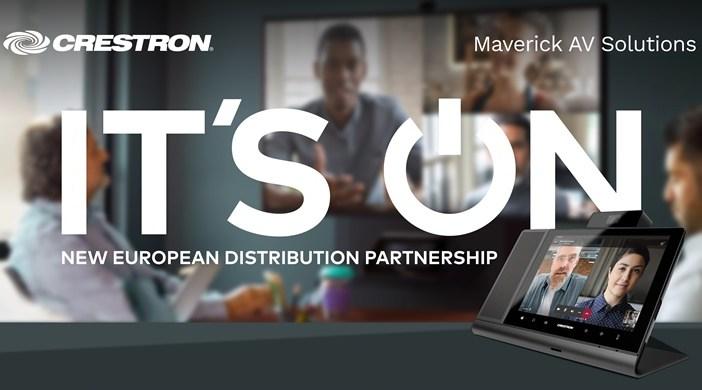 "Crestron ""it's on"" new european distribution partnership announcement graphic"
