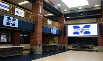 high school with video displays