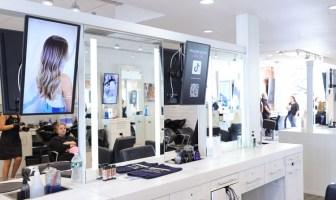 Samsung displays at a hair salon