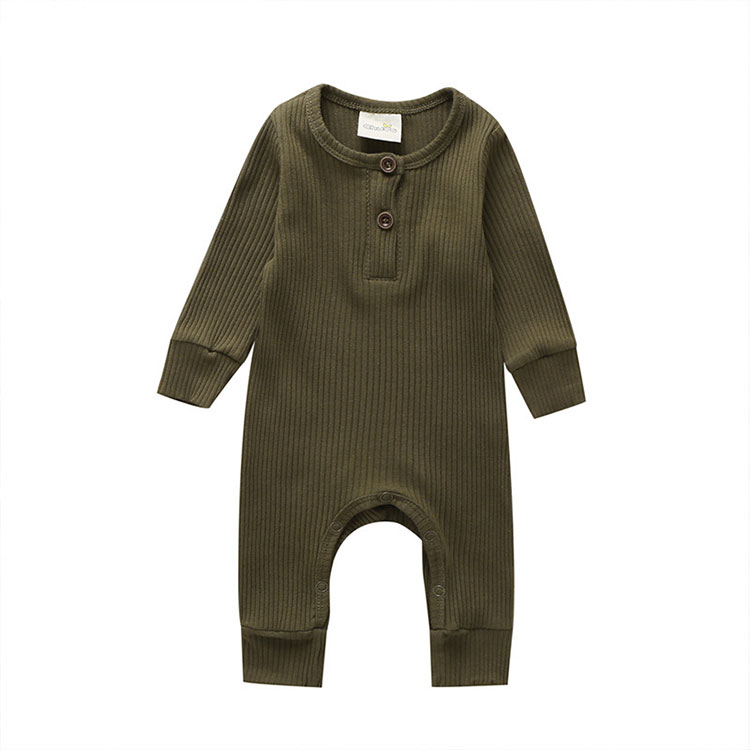 Baby's Ribbed Fabric Long Sleeve Romper