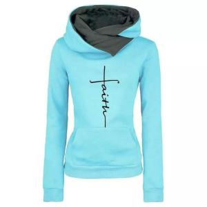 Women's Faith Embroidered Casual Hoodie