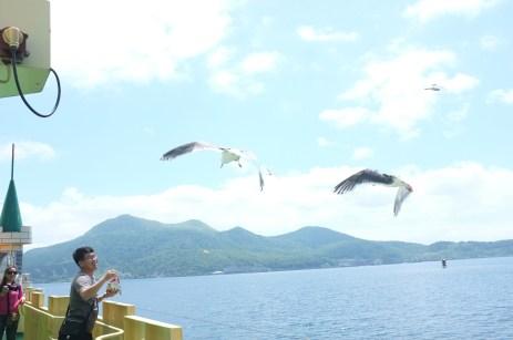 people were feeding the seagulls
