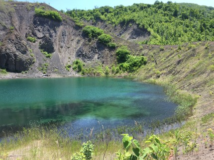 the emerald-colored Yu-Kun Crater