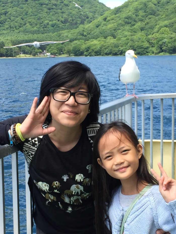 posing with the seagull