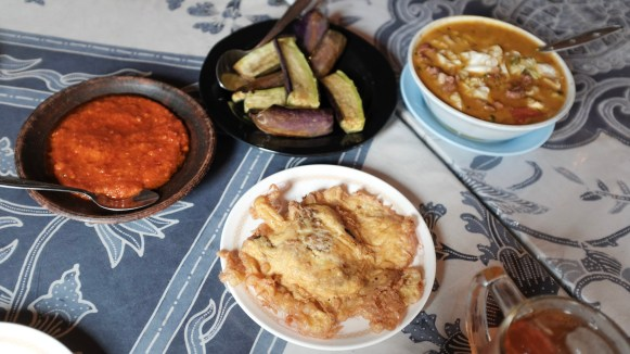 sambal, eggplant, cow brain omelet, and tongseng