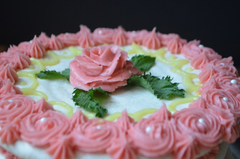 Strawberry Buttercream and Lemon Curd Dacquoise