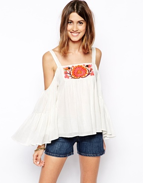 ASOS cold shoulder embroieded top