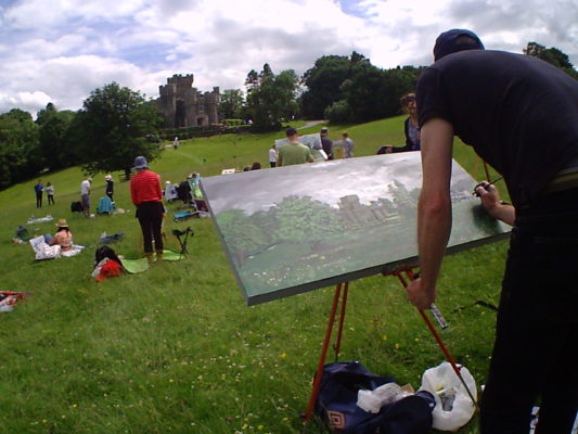 Painting Wray Castle in Detail.