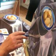 Studying cloth and eggs through paint.