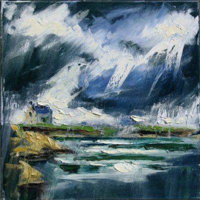2015 Kilmore Quay, lightstorm, oil on canvas.